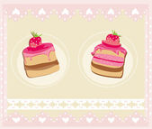 Lovely Pattern With cake Design — Vettoriale Stock