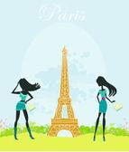 Beautiful girls Shopping in Paris — Stock vektor