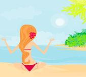 Mädchen im yoga pose auf sommer hintergrund mit palme — Stockvektor