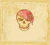 骷髅海盗-复古卡 — 图库矢量图片