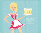 Oktoberfest waitress — Stock Vector