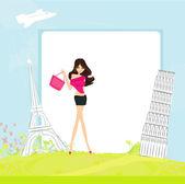Beauty travel girl - abstract frame — Stock Vector