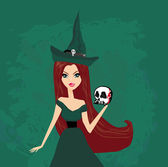 Halloween witch standing with skull — Stockvektor
