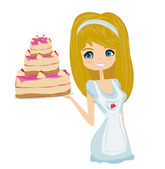 Beautiful lady cooking cake — Stock Vector