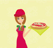 Beautiful waitress enjoys pizza — Stock Vector