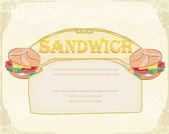 Horizontal grunge background with sandwich — Stock Vector