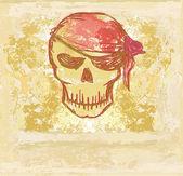 Skull Pirate - retro card — Stock Vector