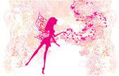 Floral background with a beautiful fairy — Stock Vector