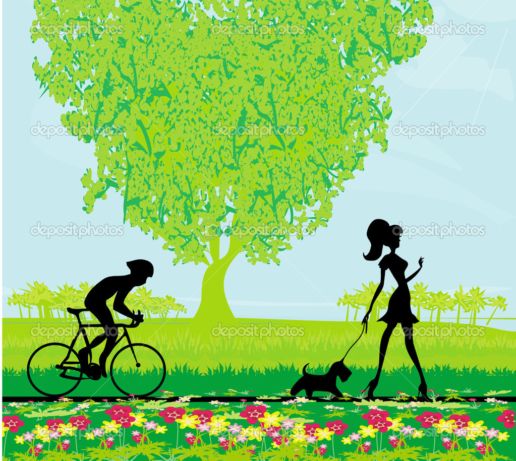 Silhouette of a cyclist and woman with dog in the park — Stock Vector #10456277