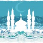 Ramadan background - mosque silhouette vector card — Stock Vector #10483186