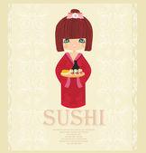 Schönes asiatisches mädchen genießen sie sushi - menü-template — Stockvektor