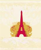 Vintage retro Eiffel card — Vector de stock