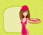 Beautiful woman waitress enjoys pizza — Stock Vector