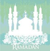 Ramadan tło - meczet sylwetka wektor karty — Wektor stockowy
