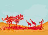Grunge bakgrund med afrikanska djur och växter — Stockvektor