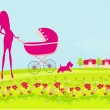 Beautiful pregnant woman pushing a stroller walking with her dog in a park — Imagen vectorial