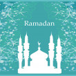 Ramadan background - mosque silhouette vector card — Stock Vector