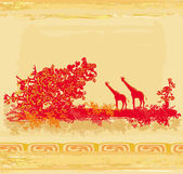 Grunge background with African fauna and flora — Stock Vector