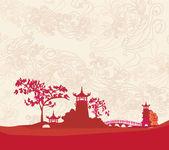 Vecchia carta con paesaggio asiatico — Vettoriale Stock