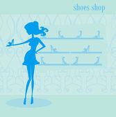 Fashion girl shopping in shoe shop — Stock Vector