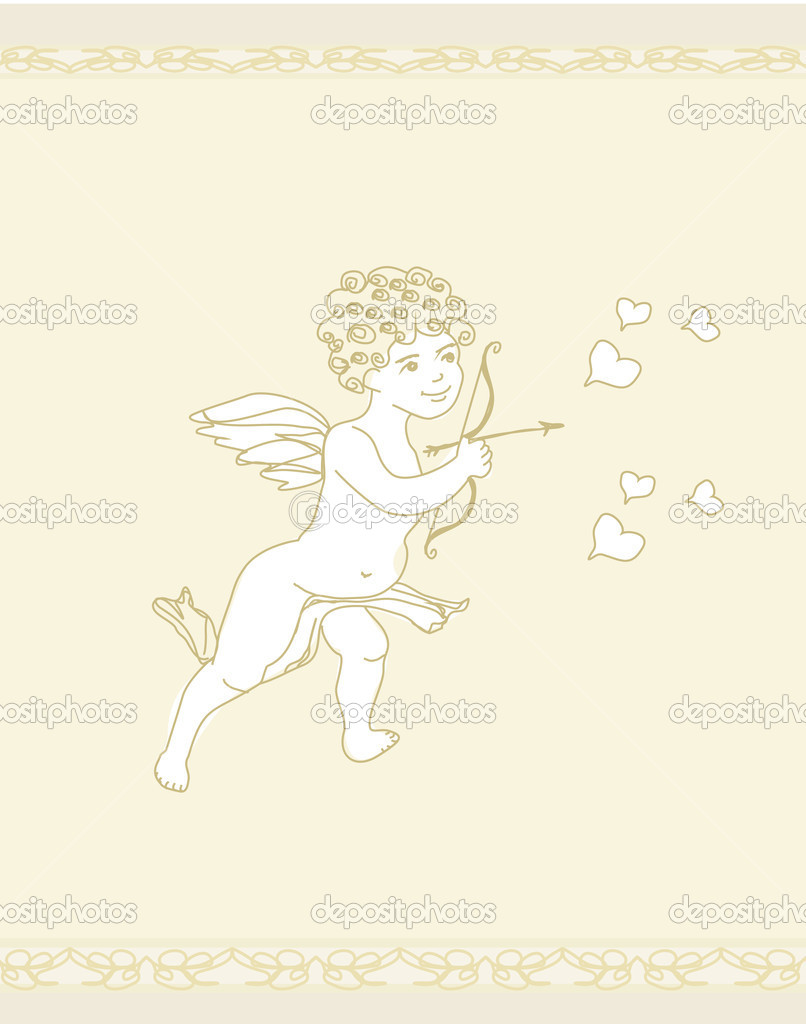 Happy valentines day card with cupid  — Stock Vector #10582231