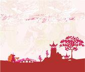 Oud papier met aziatische landschap — Stockvector