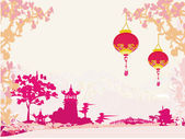 Old paper with Asian Landscape and Chinese Lanterns - vintage japanese style background — Stock Vector
