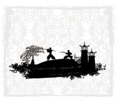 Samurai silhouette in Asian Landscape — Stock Vector