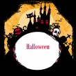 Grungy Halloween background with haunted house, bats and full moon — Stock Vector #10664691