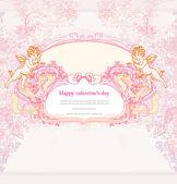 Glad alla hjärtans dag-kort med cupid — Stockvektor