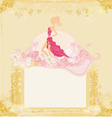 Fashion silhouettes girl Shopping - abstract frame — Stockvector
