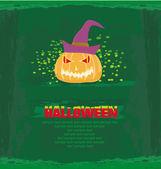 Broken halloween pumpkin on grunge green background vector illustration — Stock Vector
