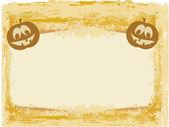 Grunge arka plan vektör çizim üzerinde kırık halloween balkabağı — Stok Vektör