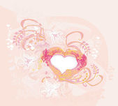 Romantic vintage with heart invitation — 图库矢量图片