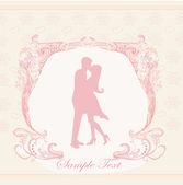 Elegant wedding invitation with wedding couple — Stock Vector