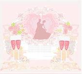 Danseurs de la salle de bal et deux verres de champagne - invitation — Vecteur