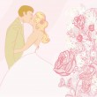 Wedding couple kissing - vintage background — Stock Vector