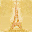 Vintage retro Eiffel in Paris card — Stock Vector