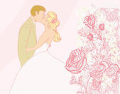 Wedding couple kissing - vintage background — Stockvector