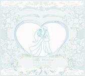 Dançarinos de casamento - cartão do convite — Vetor de Stock
