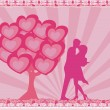 Greeting card with silhouette of romantic couple — Стоковая фотография