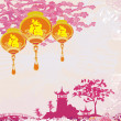 Old paper with Asian Landscape and Chinese Lanterns - vintage japanese styl — Stock Photo