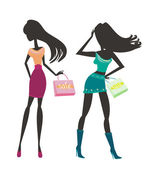 Vector fashion shopping girls silhouettes — Stock Photo