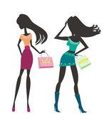 Vector fashion shopping girls silhouettes — Foto de Stock