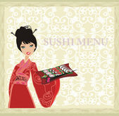 Beautiful Asian girl enjoy sushi - menu template — Stock Photo