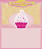 Vintage card with cupcake — Stock Photo