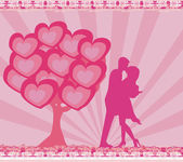 Greeting card with silhouette of romantic couple — Stock Photo
