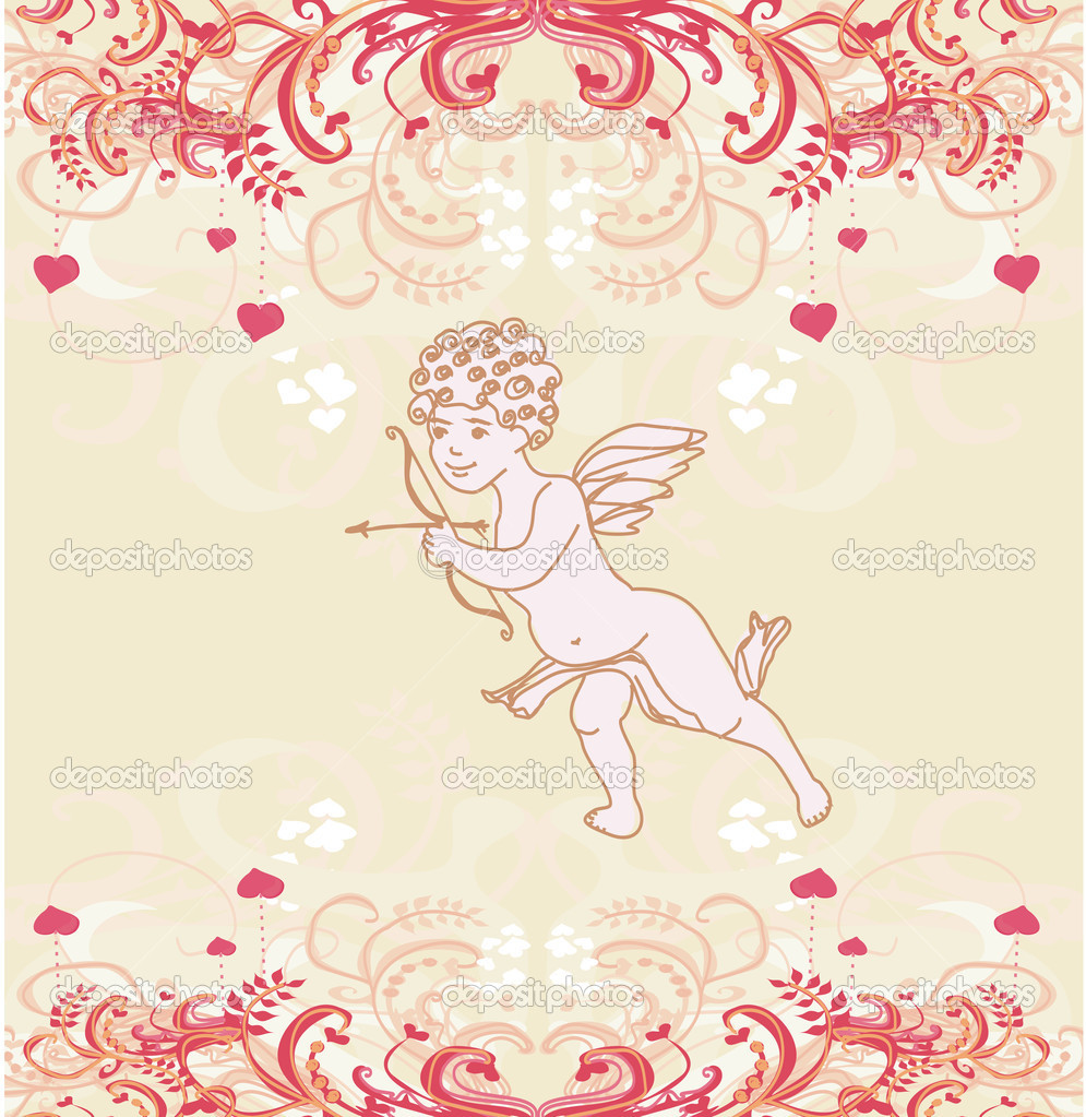 Happy valentine's day card with cupid — Stock Photo #9241592