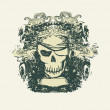 Royalty-Free Stock Photo: Skull Pirate - retro card