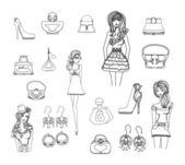 Fashion shopping icon doodle set — Stock Photo